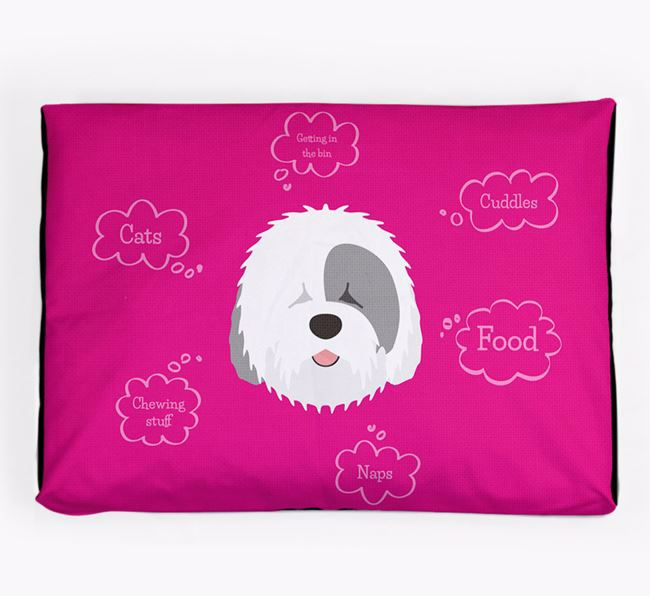 Personalised 'Sweet Dreams' Dog Bed for your Old English Sheepdog