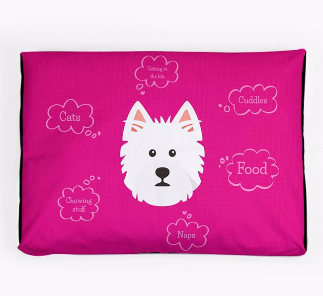 Personalised 'Sweet Dreams' Dog Bed for your West Highland White Terrier
