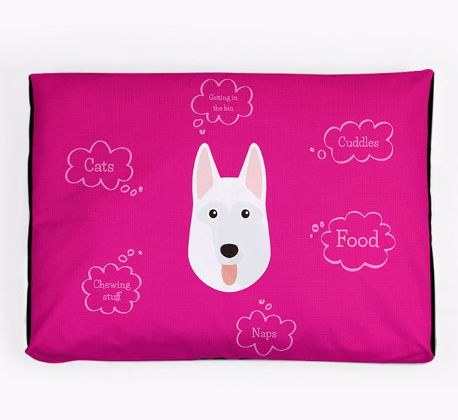 Personalised 'Sweet Dreams' Dog Bed for your White Swiss Shepherd Dog
