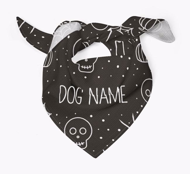 Personalized 'Spiders and Skulls' Bandana for your Catahoula Leopard Dog