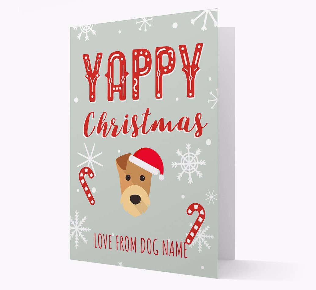 Personalised 'Yappy Christmas' Card with Airedale Terrier Christmas Icon