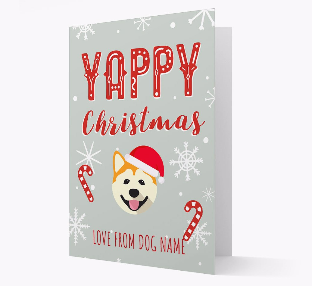 Personalised 'Yappy Christmas' Card with Akita Christmas Icon