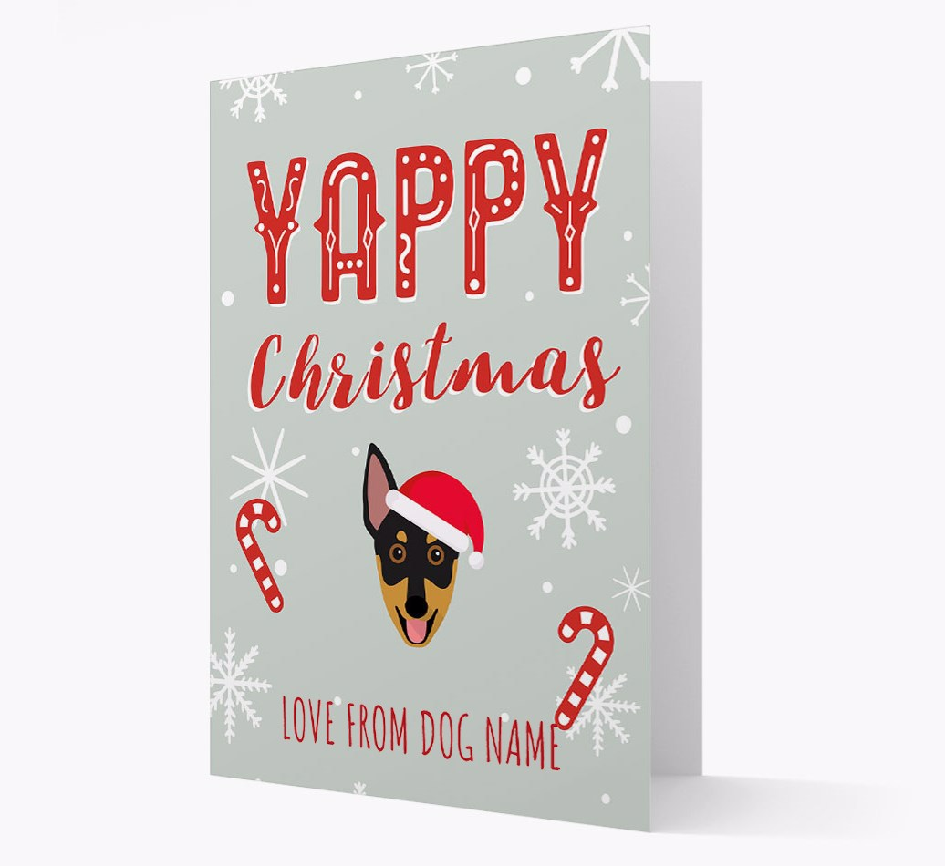 Personalised 'Yappy Christmas' Card with Australian Working Kelpie Christmas Icon