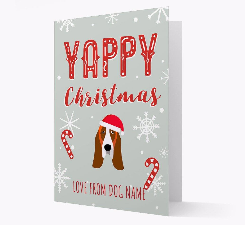Personalised 'Yappy Christmas' Card with Basset Hound Christmas Icon
