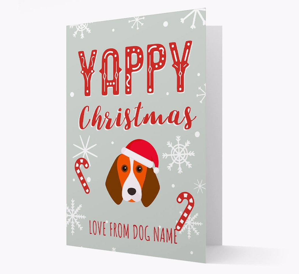 Personalised 'Yappy Christmas' Card with Beagle Christmas Icon