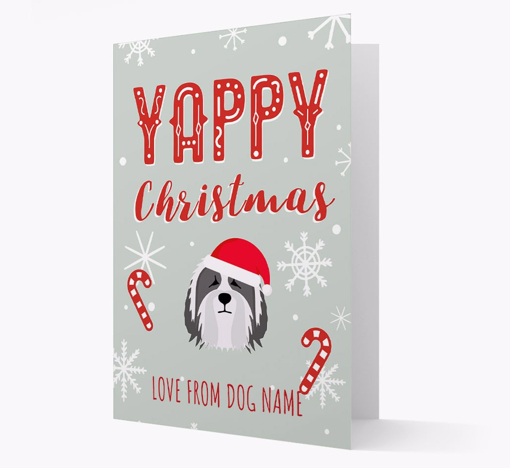 Personalised 'Yappy Christmas' Card with Bearded Collie Christmas Icon