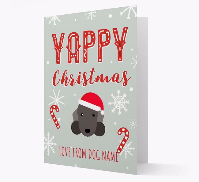 Personalised 'Yappy Christmas' Card with Bedlington Terrier Christmas Icon