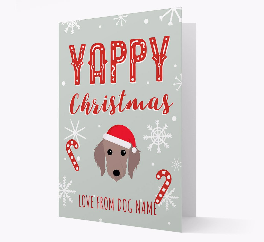 Personalised 'Yappy Christmas' Card with Bedlington Whippet Christmas Icon
