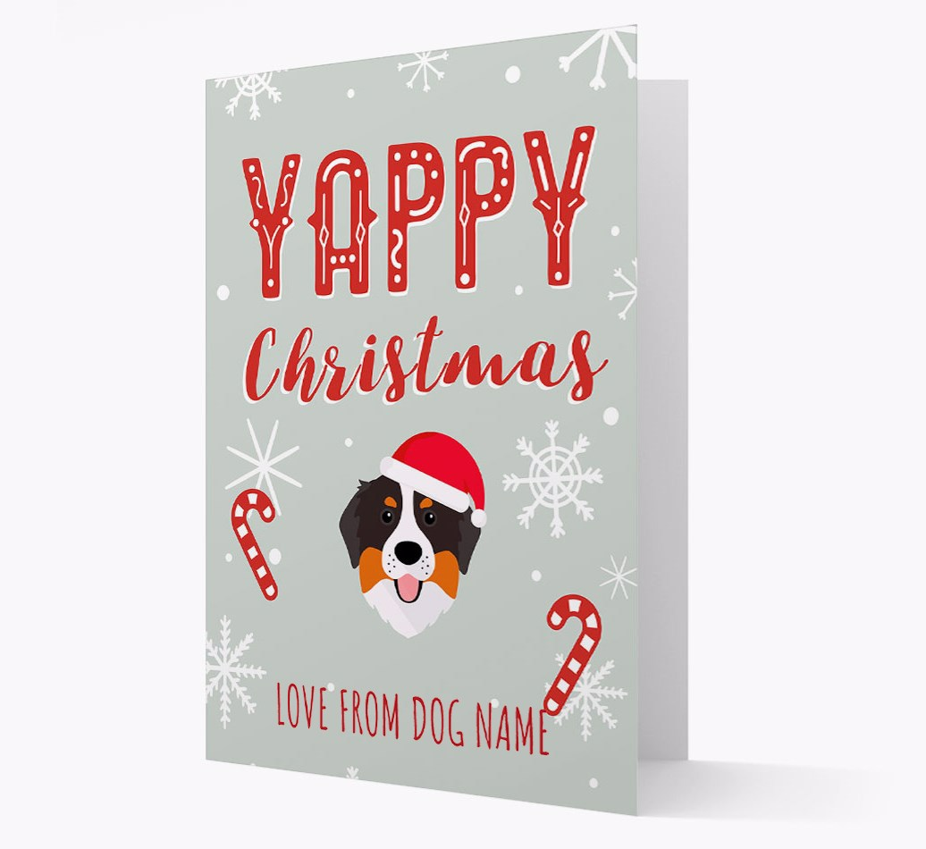 Personalised 'Yappy Christmas' Card with Bernese Mountain Dog Christmas Icon