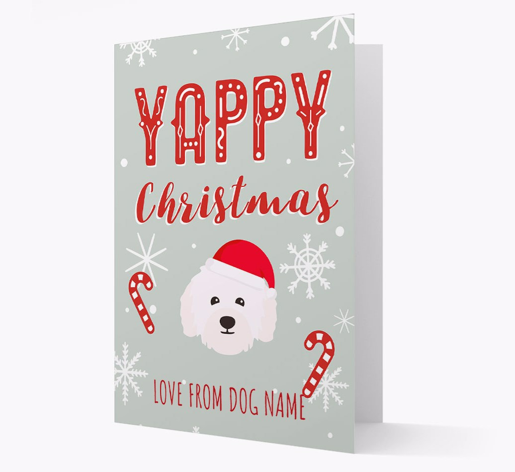 Personalised 'Yappy Christmas' Card with Bolognese Christmas Icon