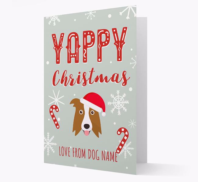 Personalised 'Yappy Christmas' Card with Border Collie Christmas Icon