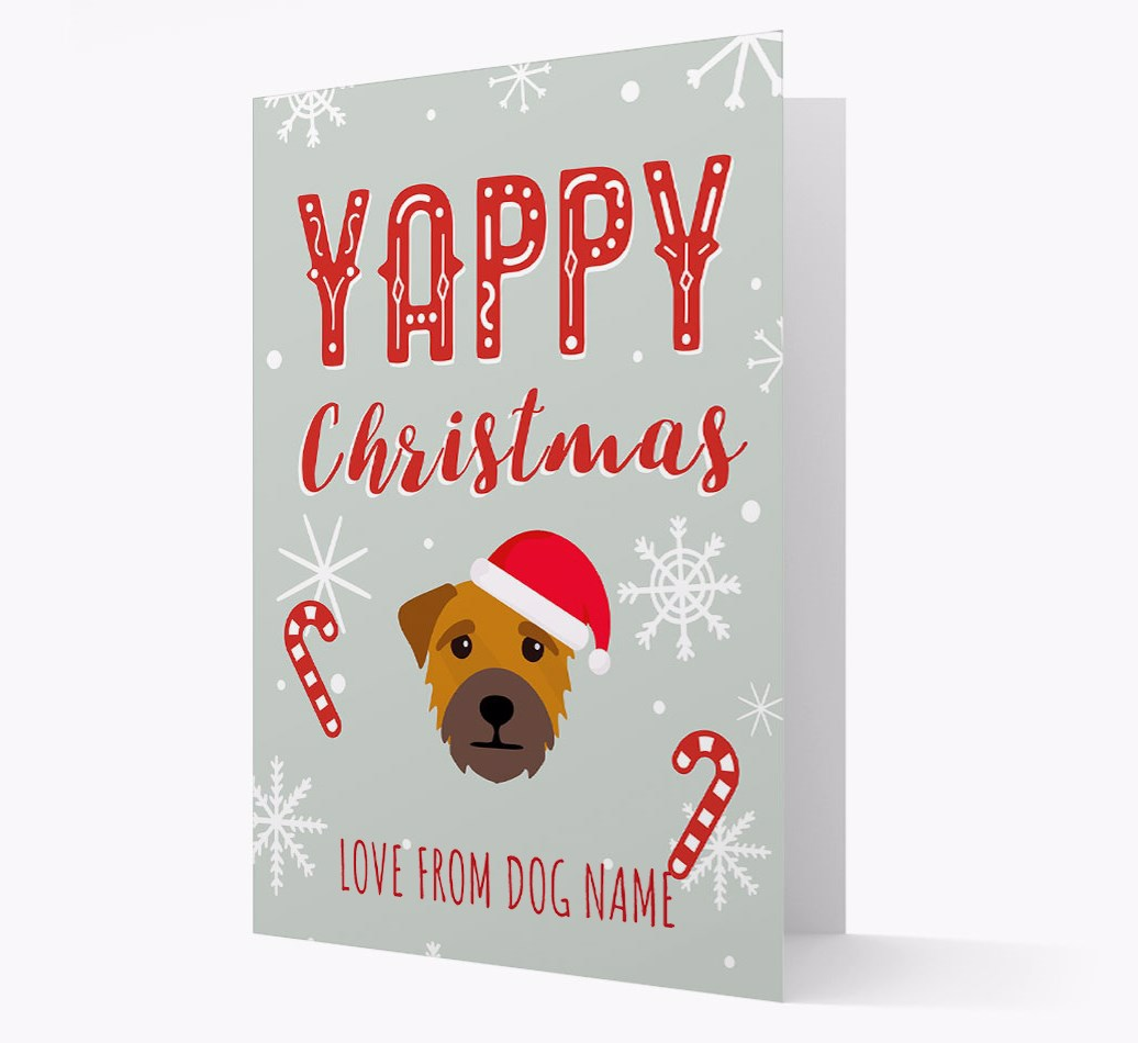 Personalised 'Yappy Christmas' Card with Border Terrier Christmas Icon