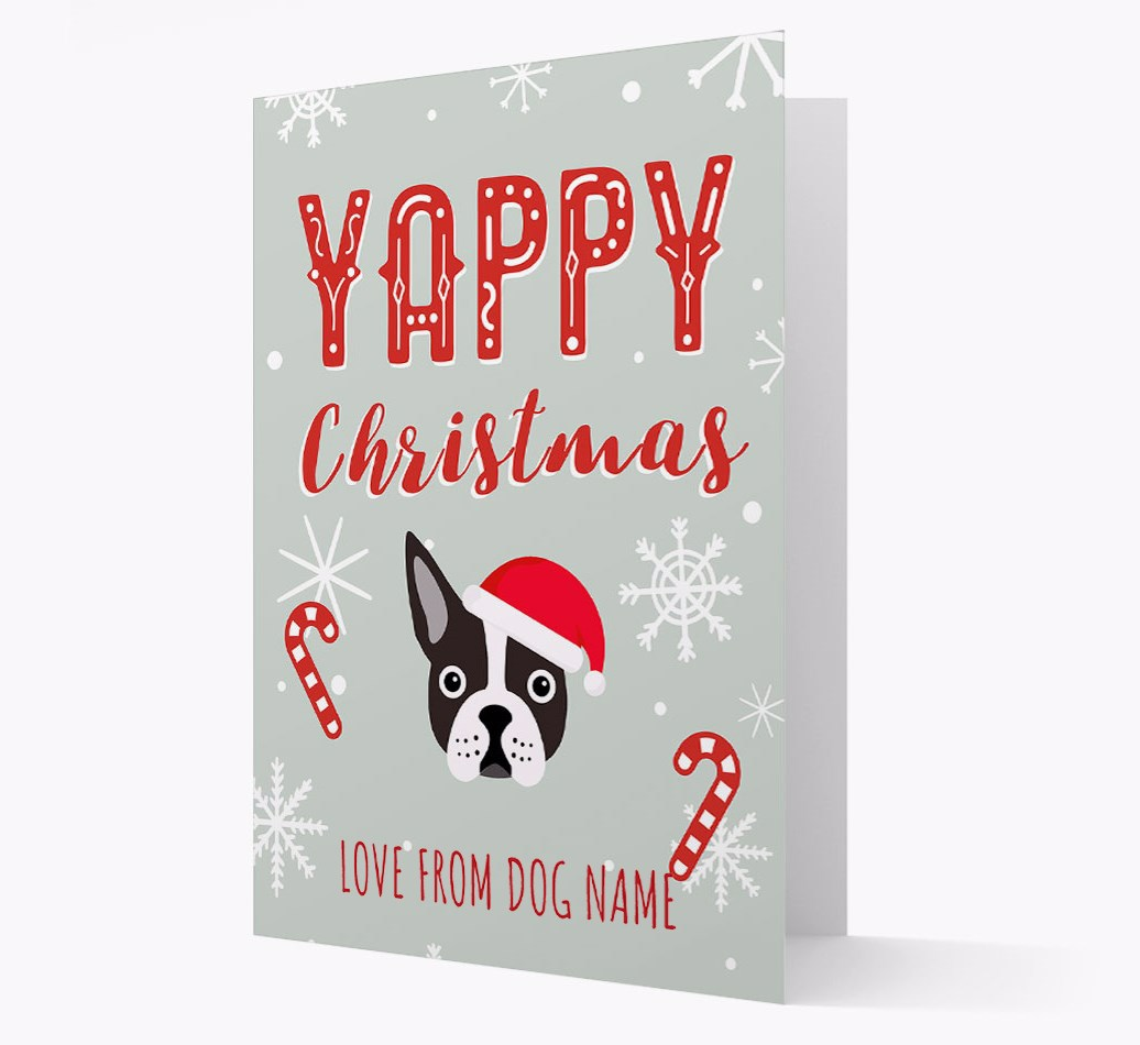 Personalised 'Yappy Christmas' Card with Boston Terrier Christmas Icon