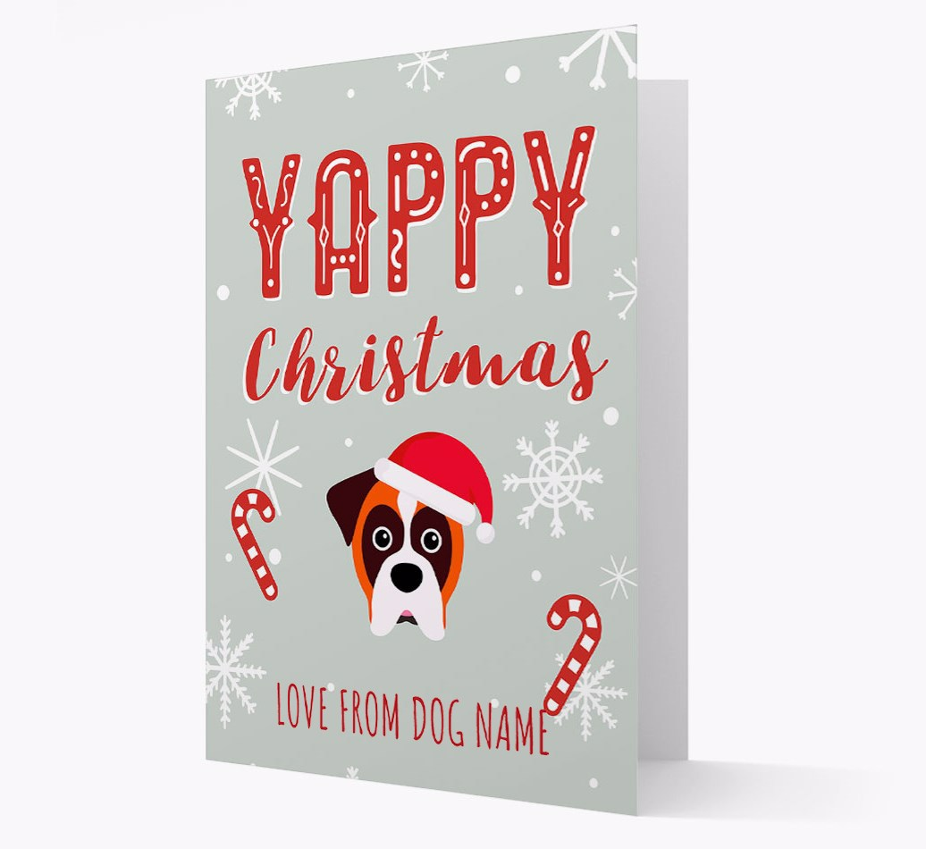 Personalised 'Yappy Christmas' Card with Boxer Christmas Icon