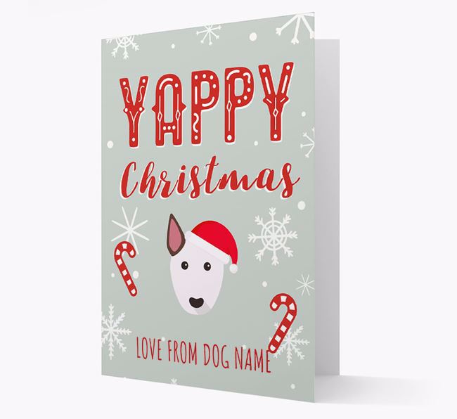 Personalised 'Yappy Christmas' Card with Bull Terrier Christmas Icon
