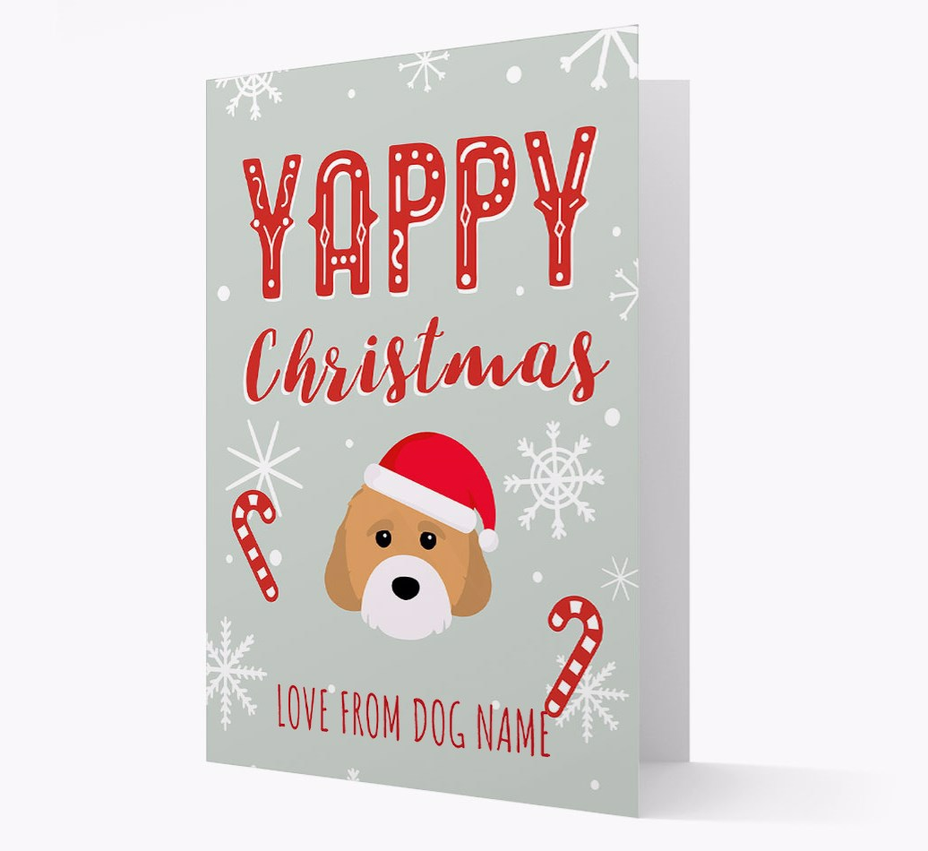 Personalised 'Yappy Christmas' Card with Cavachon Christmas Icon