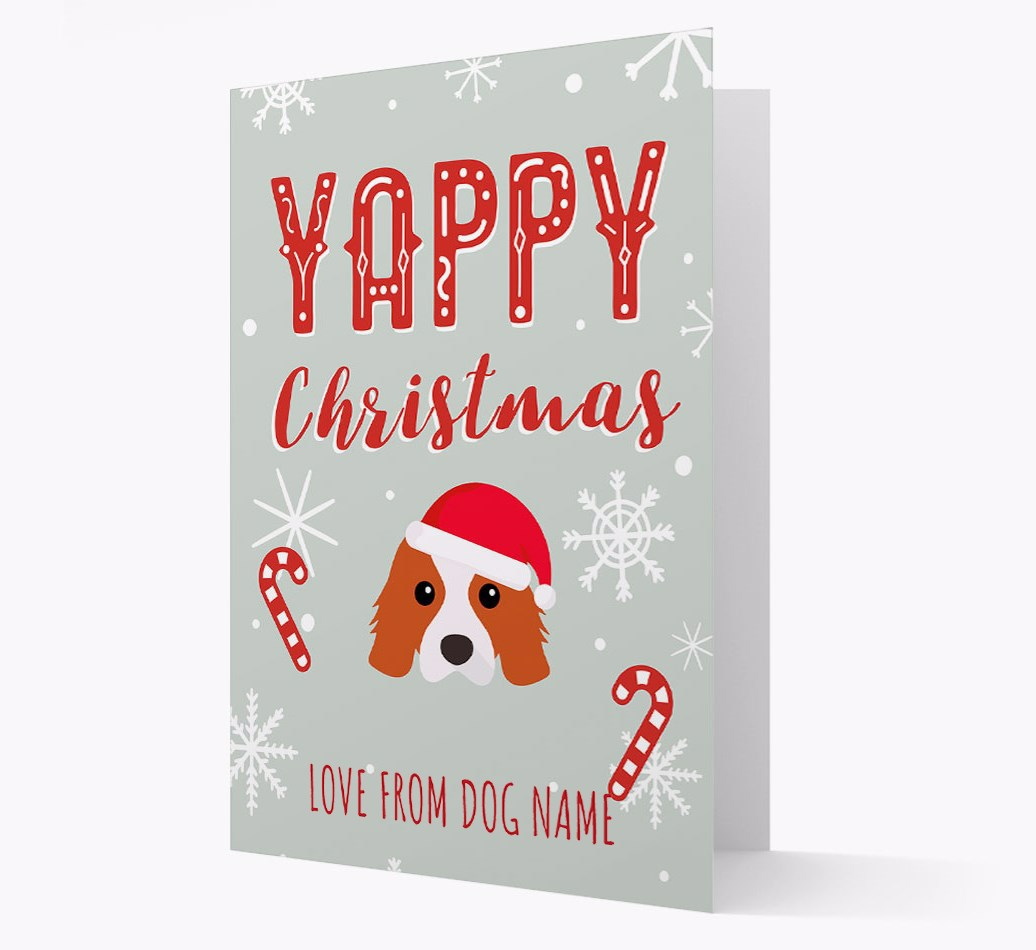 Personalised 'Yappy Christmas' Card with Cavalier King Charles Spaniel Christmas Icon