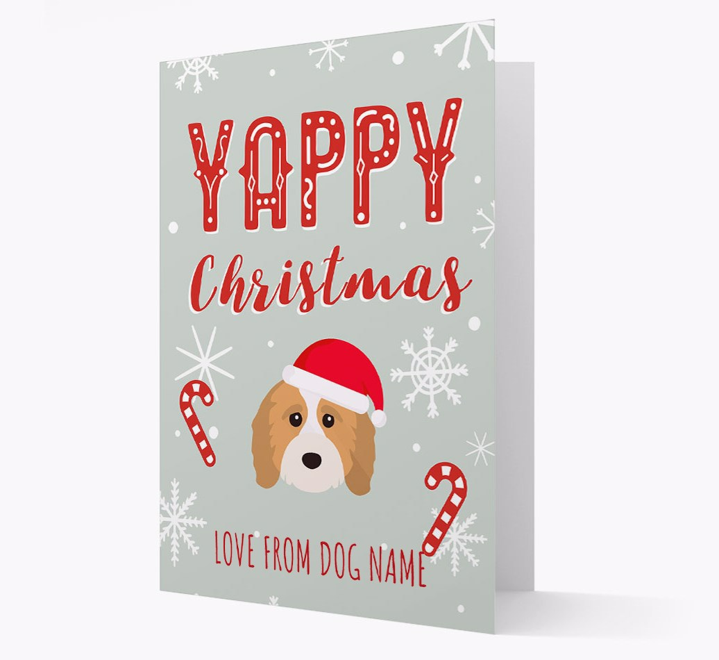 Personalised 'Yappy Christmas' Card with Cavapoo Christmas Icon