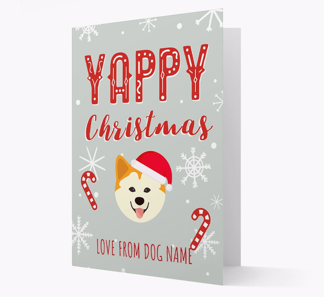 Personalised 'Yappy Christmas' Card with Chusky Christmas Icon