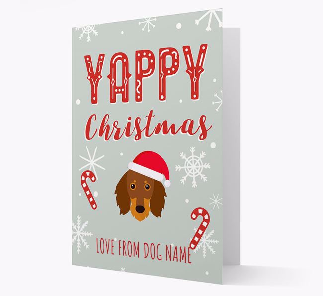 Personalised 'Yappy Christmas' Card with Dachshund Christmas Icon