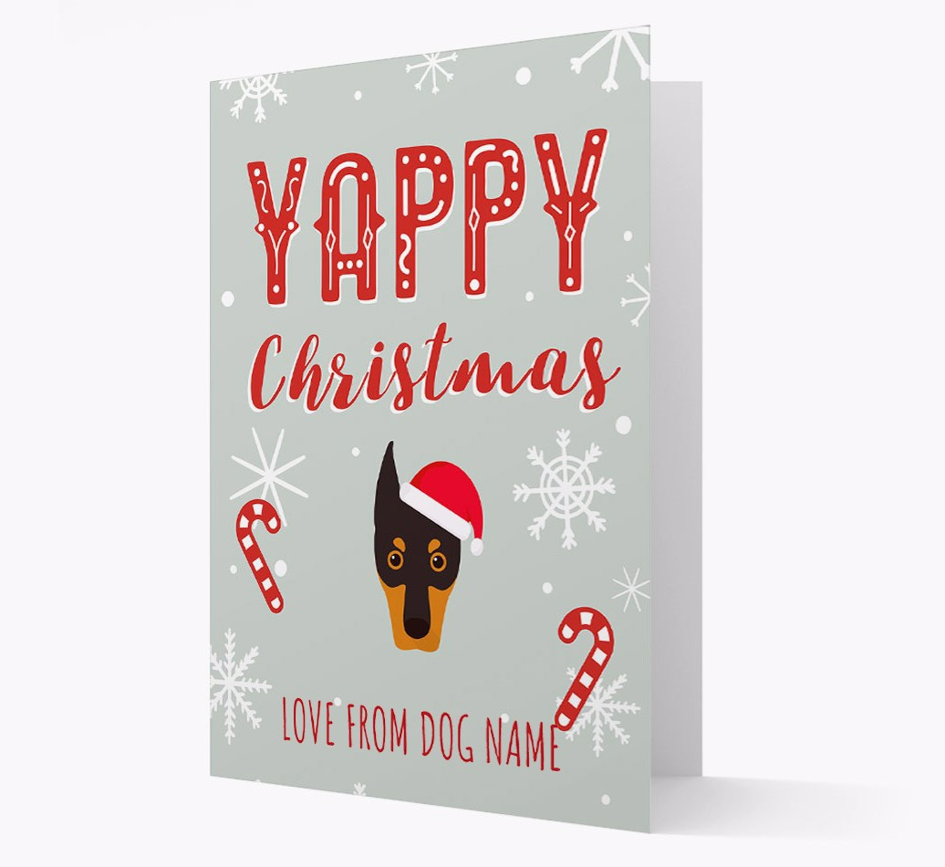 Personalised 'Yappy Christmas' Card with Dobermann Christmas Icon