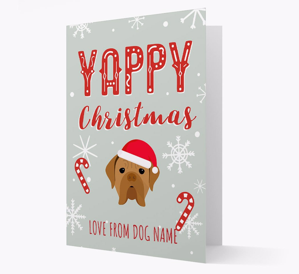 Personalised 'Yappy Christmas' Card with Dogue de Bordeaux Christmas Icon