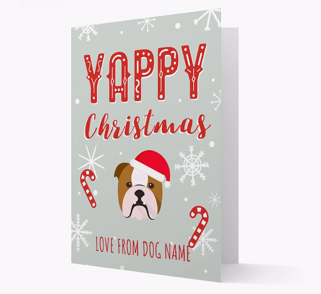 Personalised 'Yappy Christmas' Card with English Bulldog Christmas Icon