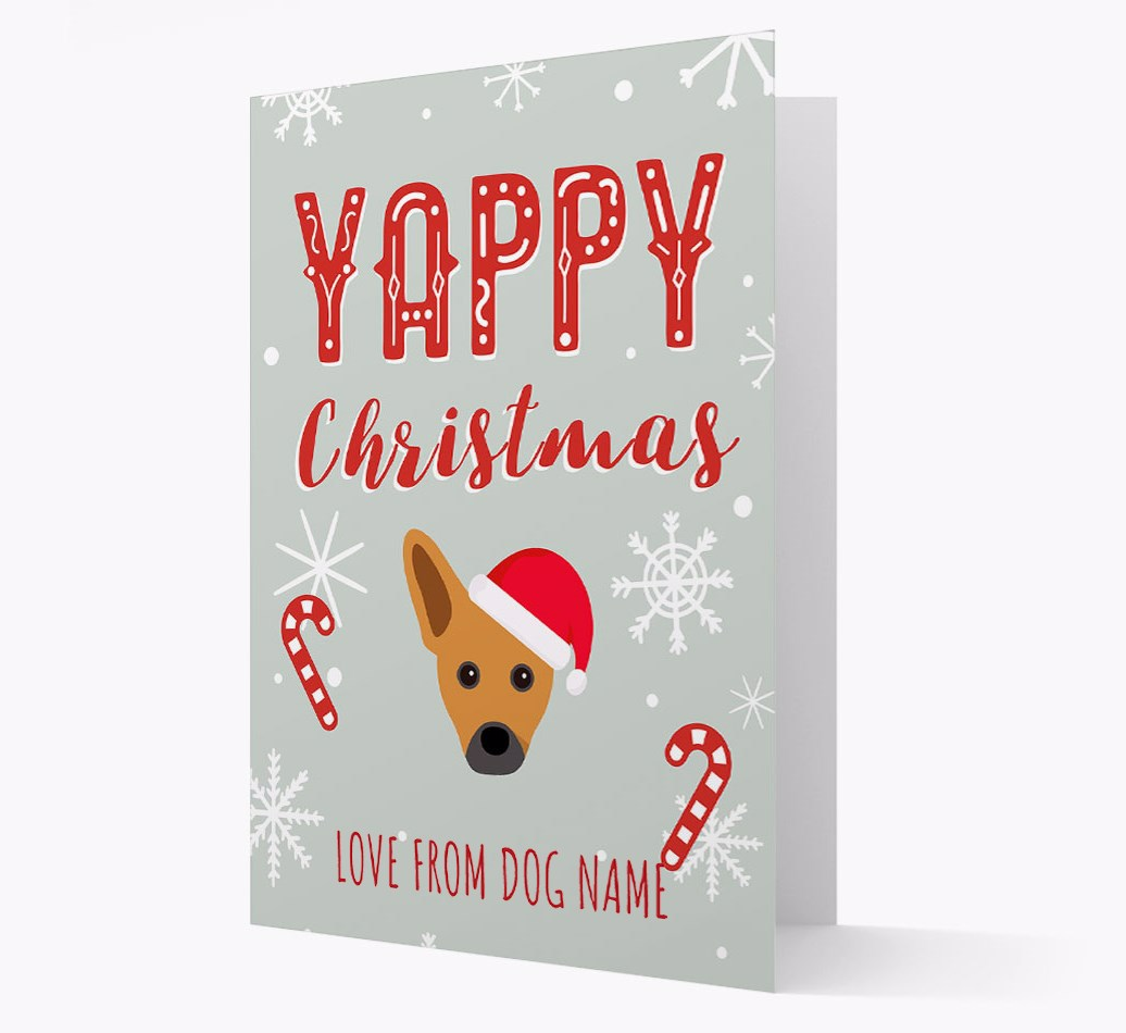 Personalised 'Yappy Christmas' Card with French Pin Christmas Icon