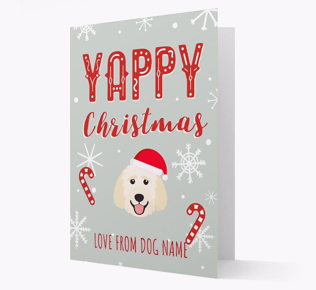 Personalised 'Yappy Christmas' Card with Goldendoodle Christmas Icon