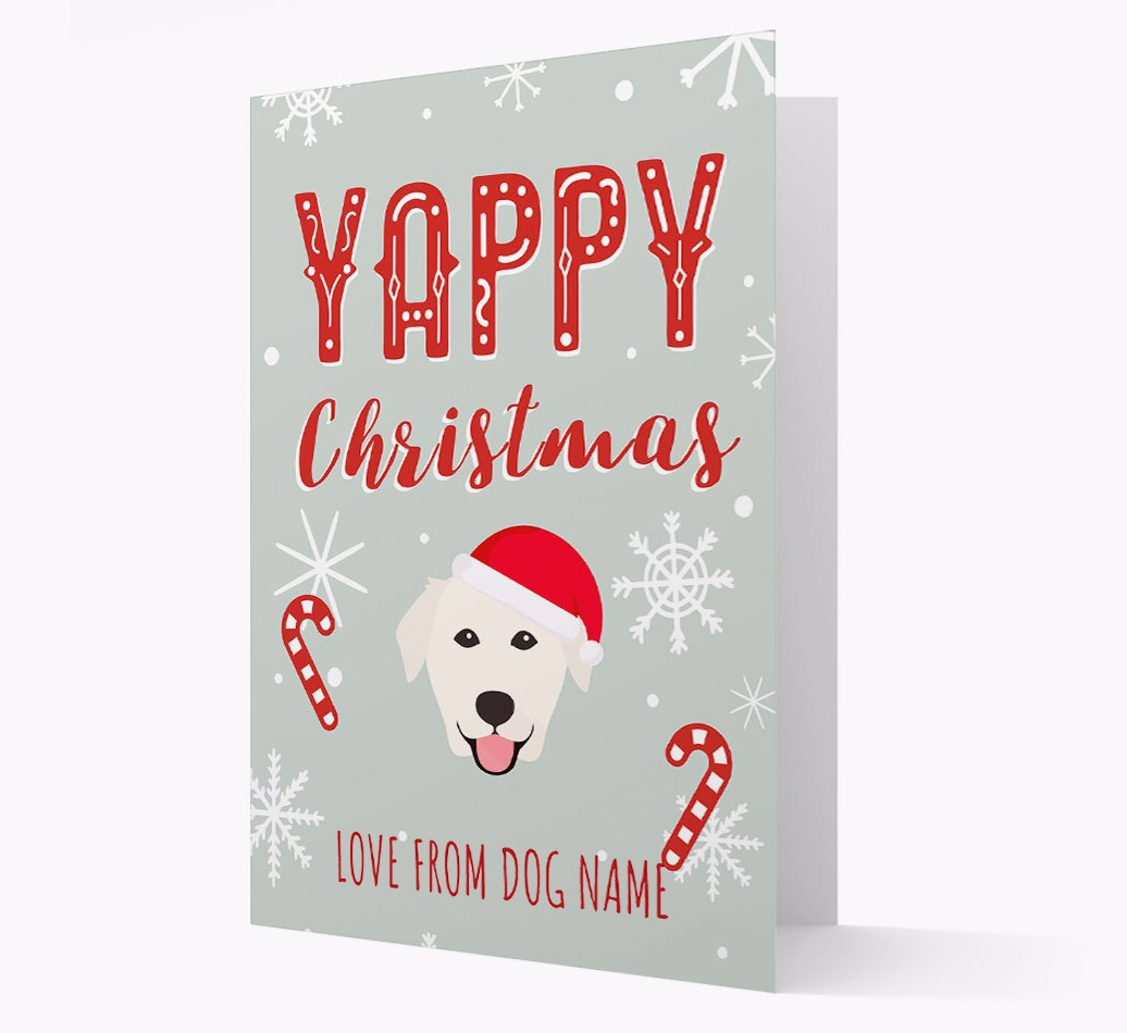 Personalised 'Yappy Christmas' Card with Golden Labrador Christmas Icon