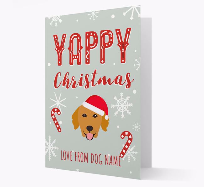 Personalized 'Yappy Christmas' Card with Golden Retriever Christmas Icon