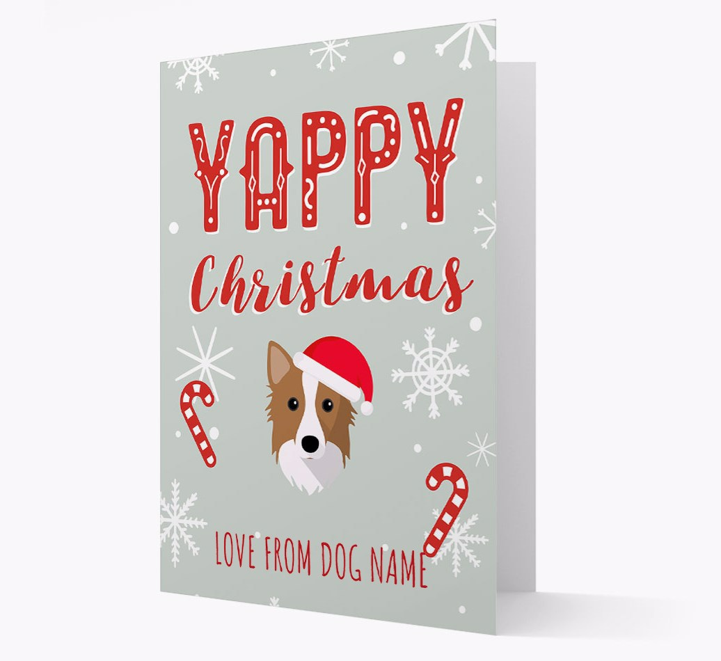 Personalised 'Yappy Christmas' Card with Icelandic Sheepdog Christmas Icon