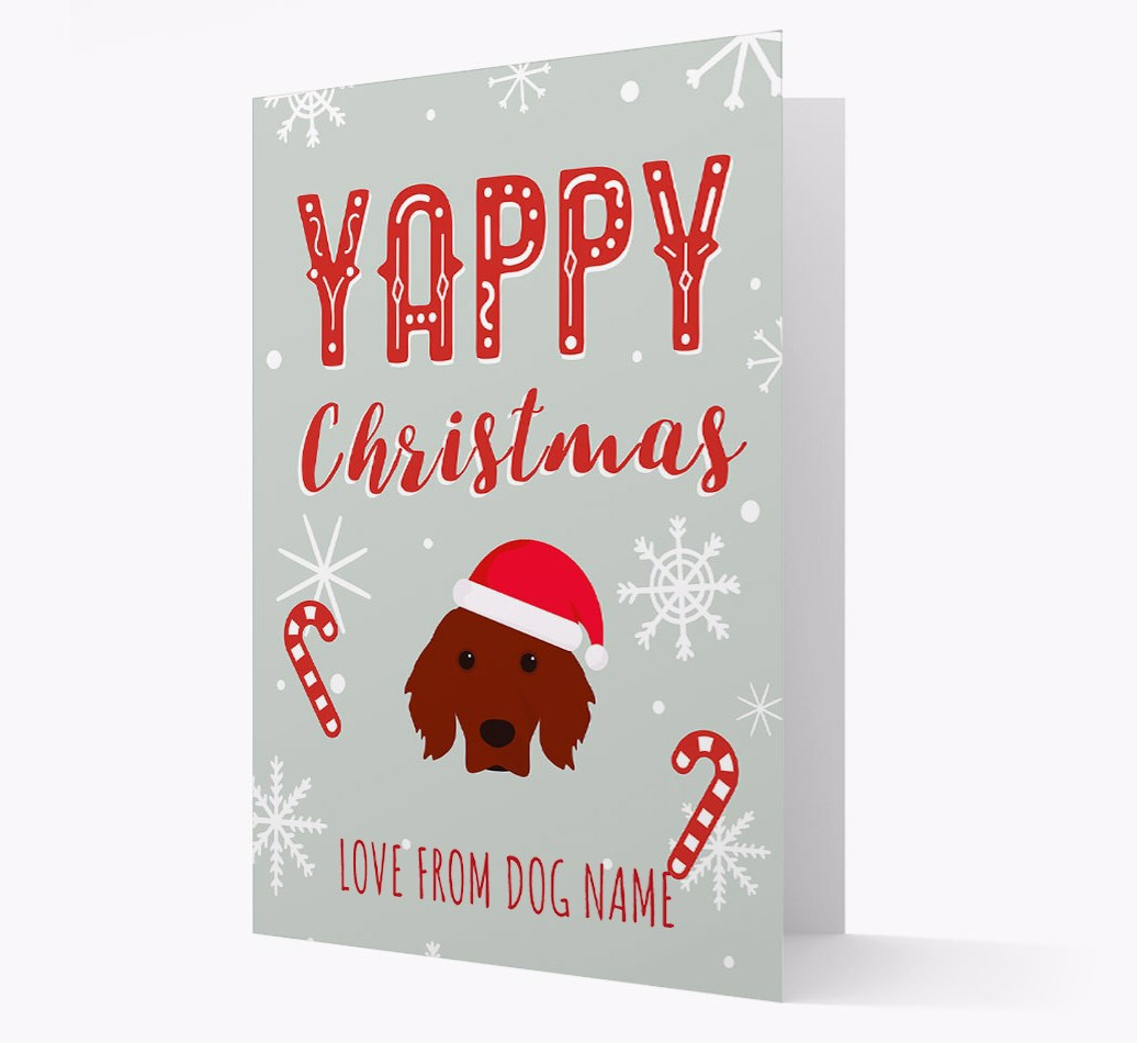 Personalised 'Yappy Christmas' Card with Irish Setter Christmas Icon
