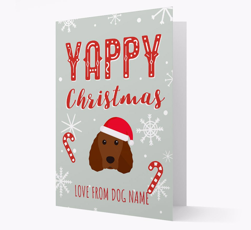 Personalised 'Yappy Christmas' Card with Irish Water Spaniel Christmas Icon