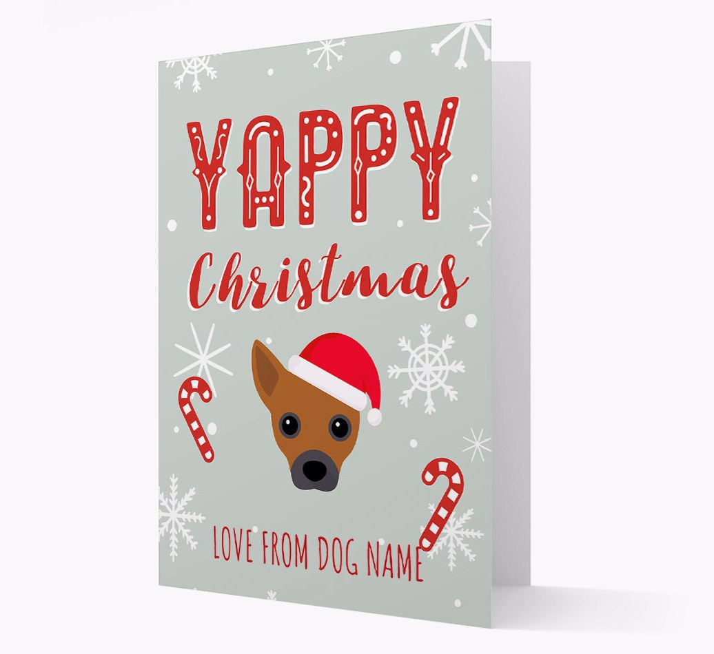 Personalised 'Yappy Christmas' Card with Jackahuahua Christmas Icon