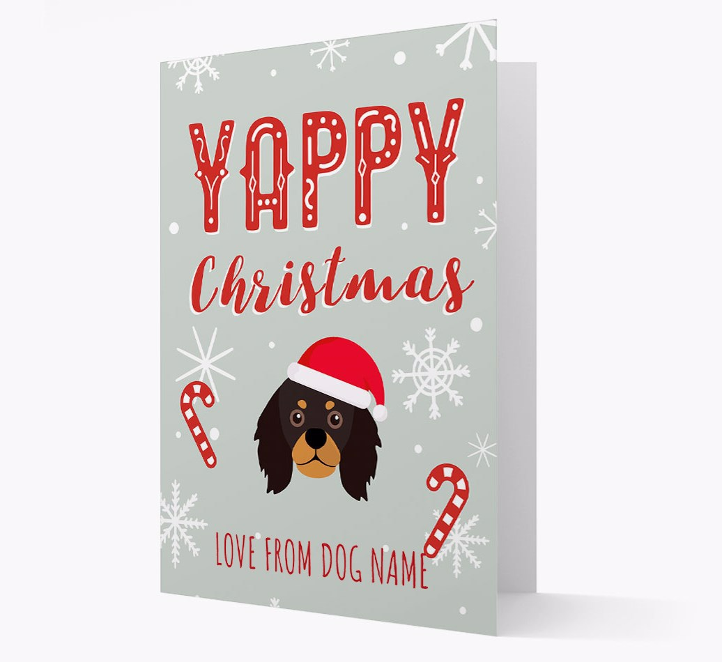 Personalised 'Yappy Christmas' Card with King Charles Spaniel Christmas Icon