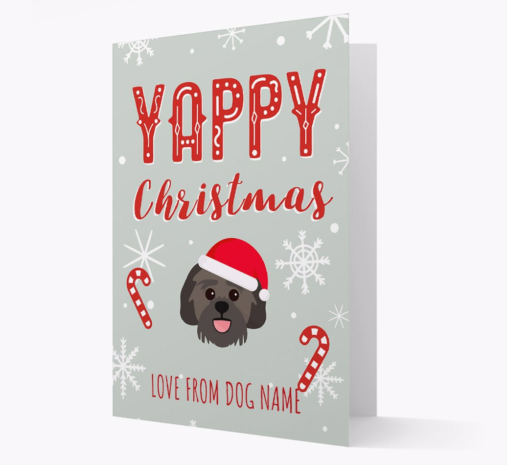 Personalised 'Yappy Christmas' Card with Lachon Christmas Icon