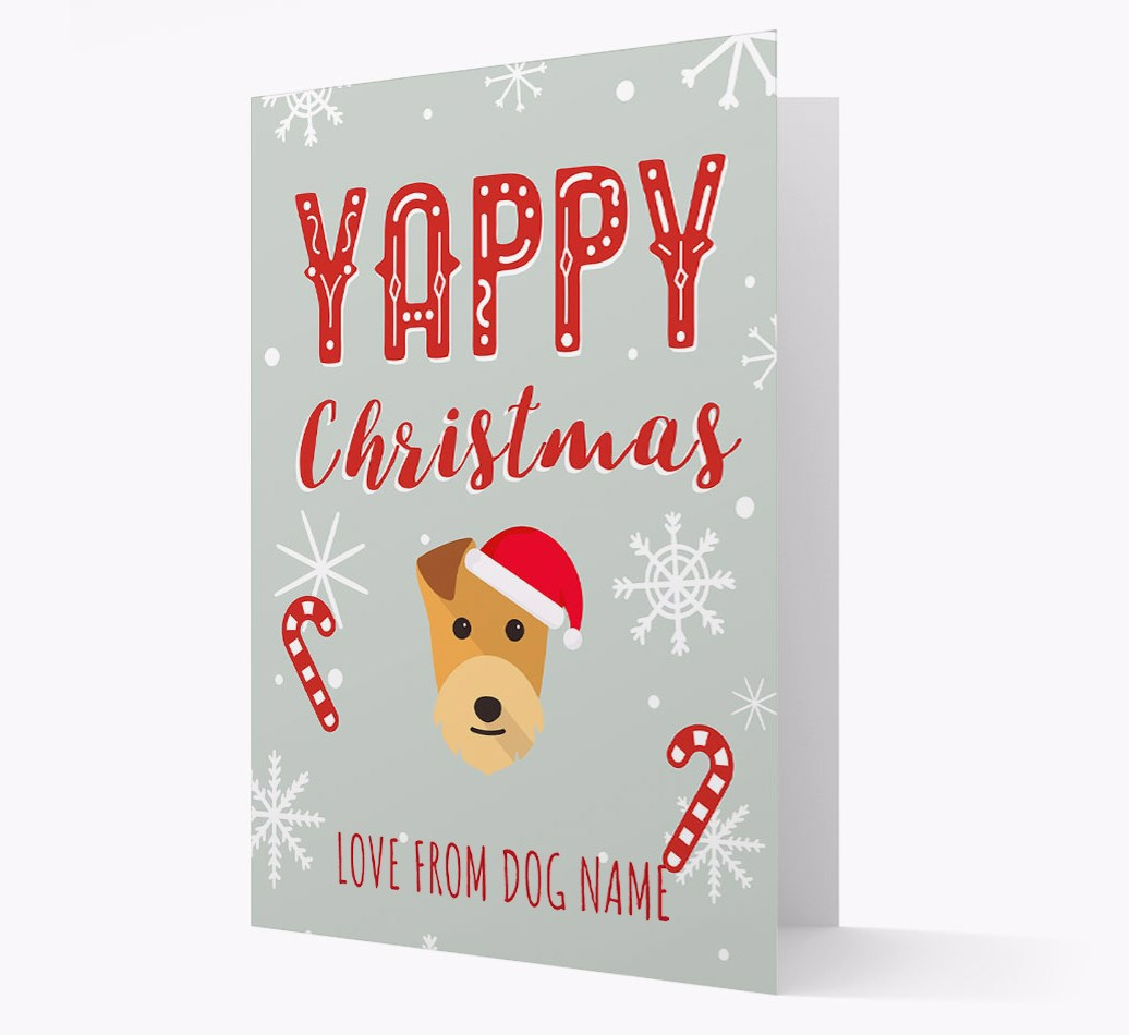 Personalised 'Yappy Christmas' Card with Lakeland Terrier Christmas Icon