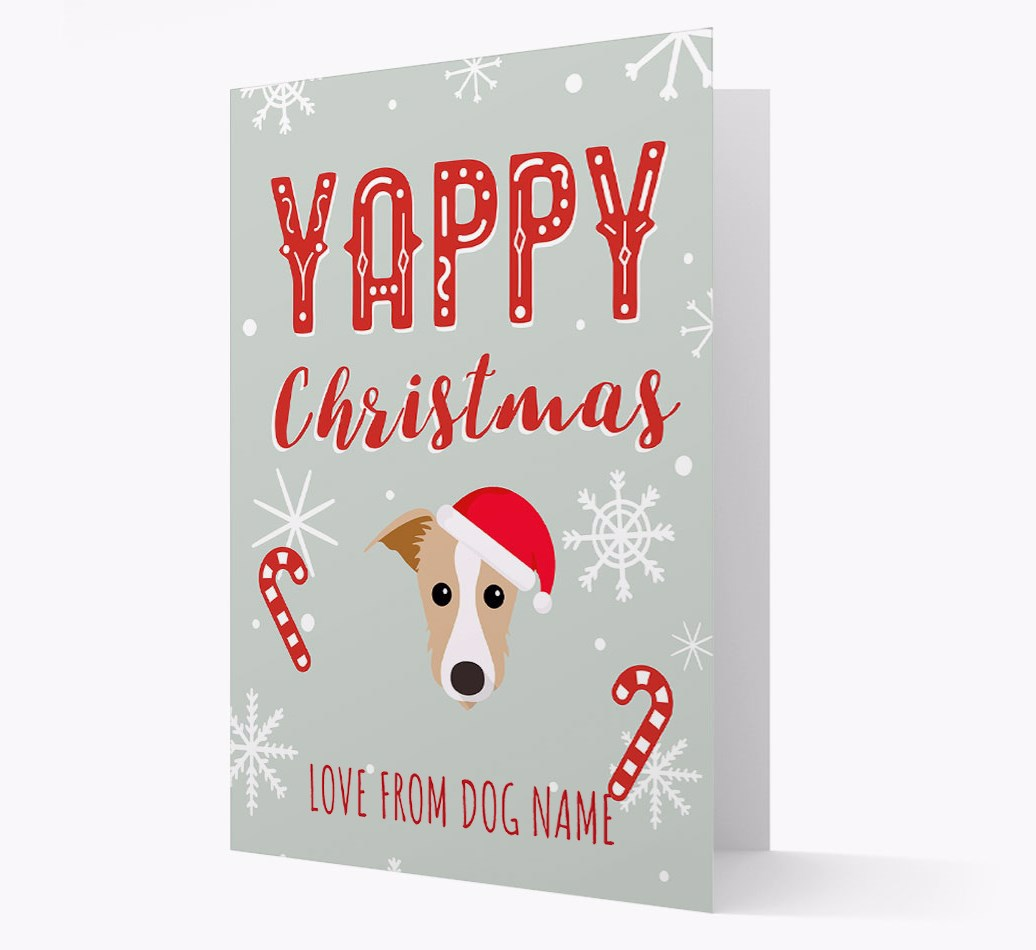Personalised 'Yappy Christmas' Card with Lurcher Christmas Icon