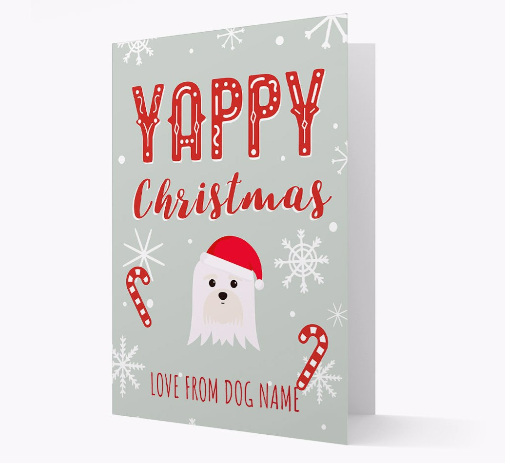 Personalised 'Yappy Christmas' Card with Maltese Christmas Icon