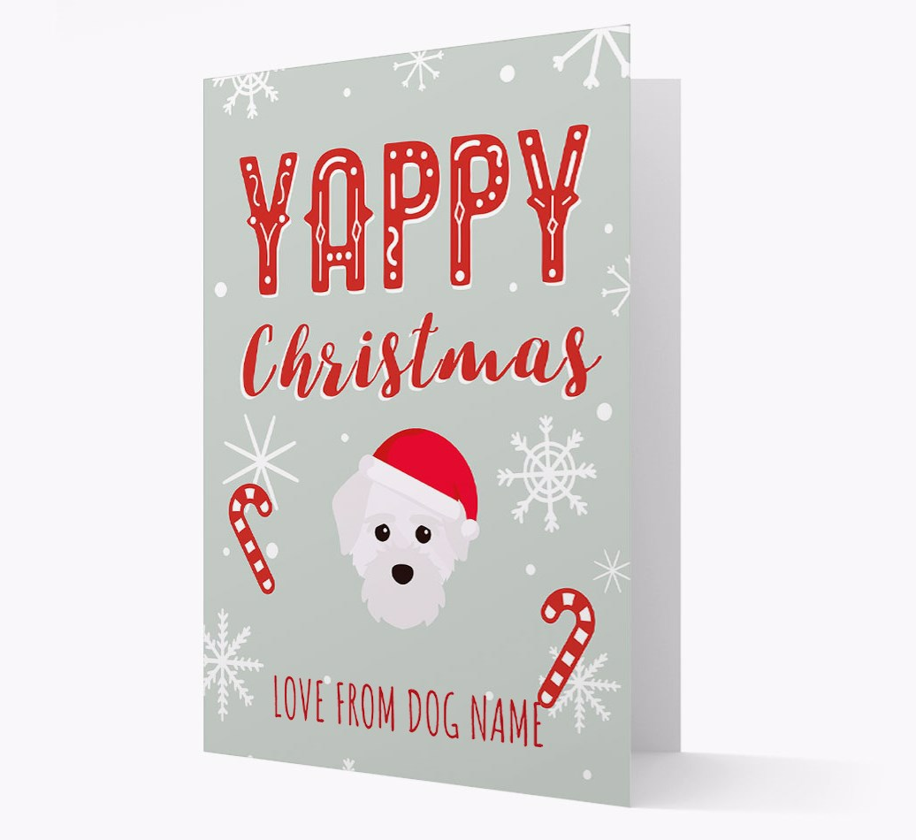 Personalised 'Yappy Christmas' Card with Maltichon Christmas Icon