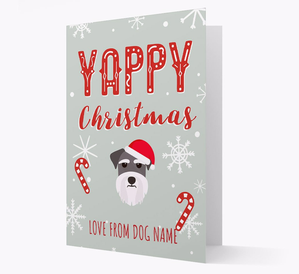 Personalised 'Yappy Christmas' Card with Miniature Schnauzer Christmas Icon