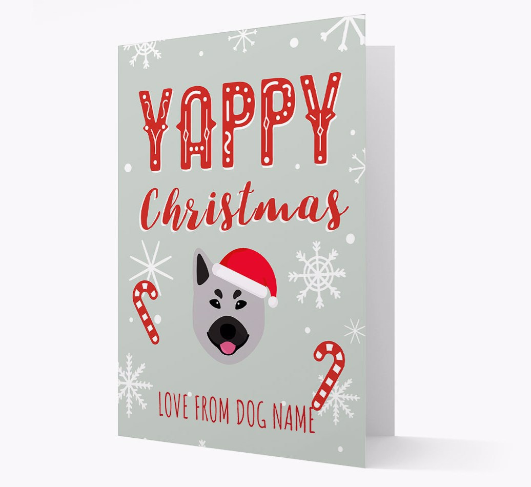 Personalised 'Yappy Christmas' Card with Norwegian Elkhound Christmas Icon