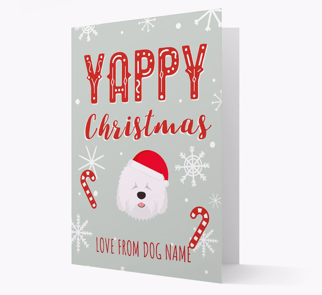 Personalised 'Yappy Christmas' Card with Old English Sheepdog Christmas Icon