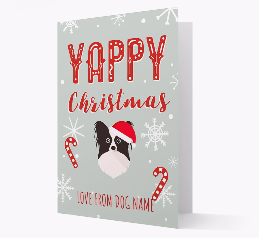 Personalised 'Yappy Christmas' Card with Papillon Christmas Icon