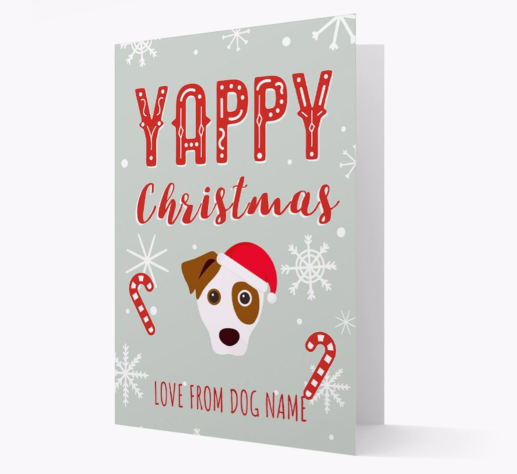 Personalised 'Yappy Christmas' Card with Parson Russell Terrier Christmas Icon