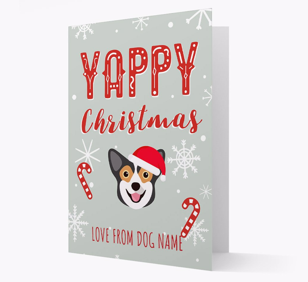 Personalised 'Yappy Christmas' Card with Pembroke Welsh Corgi Christmas Icon