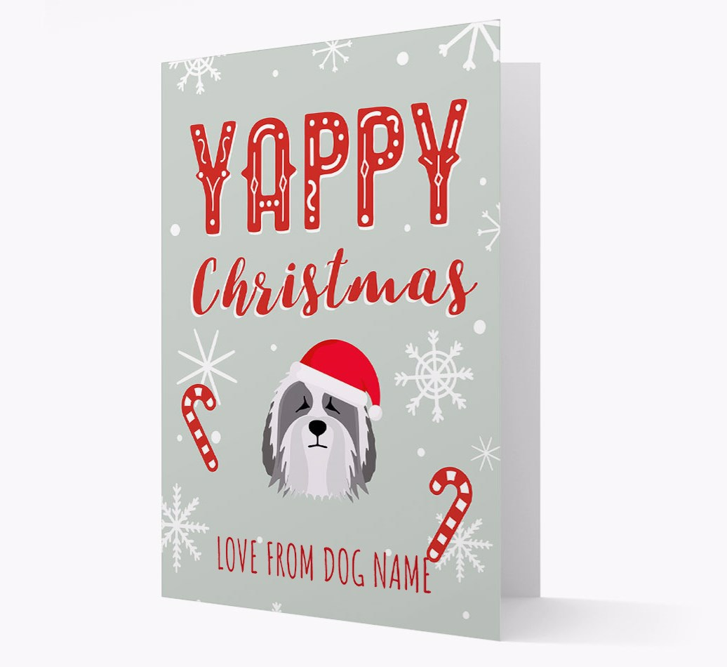 Personalised 'Yappy Christmas' Card with Polish Lowland Sheepdog Christmas Icon