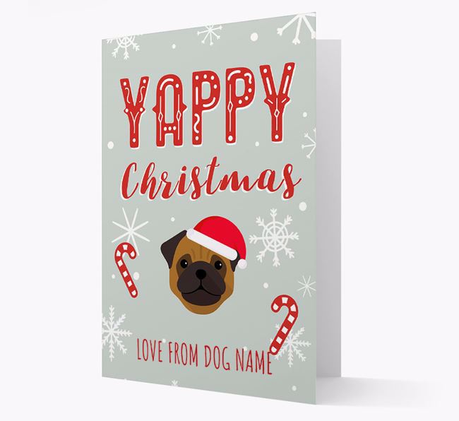 Personalised 'Yappy Christmas' Card with Pug Christmas Icon