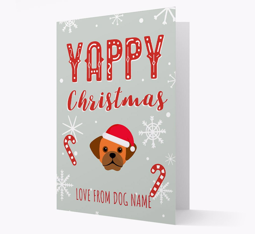 Personalised 'Yappy Christmas' Card with Puggle Christmas Icon